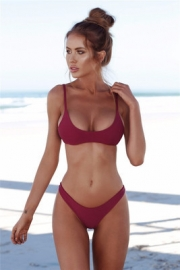 Two Piece Swimsuit Wine Red Sexy Solid Color Bikini Set