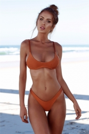 Orange Sexy Triangle Solid Colour Bikini
