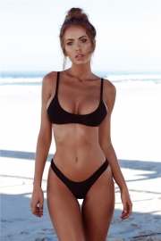 Black Hot Sell Sexy Triangle Solid Colour Bikini