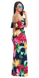 Short Sleeve Multi-Color Flounce Design Small Fresh Floral Print Maxi Dress