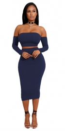 Back Strappy Off -Shoulder Solid  Dress