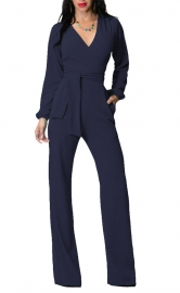 Long Sleeves Poket Side Solid Fitted Jumpsuit