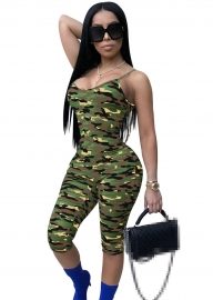 Sexy Camouflage Ribbon Printing  Jumpsuits