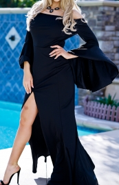 Off-shoulder Long Sleeve Maxi Dress