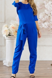 Long Sleeves Solid Fitted Jumpsuit