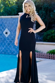 vintage halterneck black maxi dress