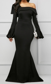 Long Sleeves Off-Should Maxi Evening Dress