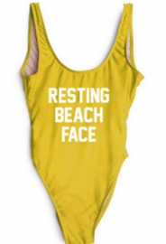 Western  Letter Print Tankini One-piece Swimsuit  RESTING BEACH FACE