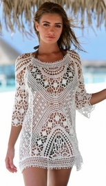 Knitted and Cut-out Beach Blouse Beach Cover up Dress