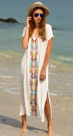 Embroidered Maxi Beach Cover-Up