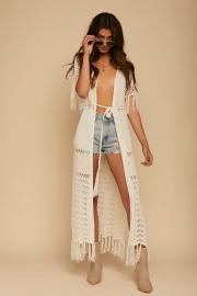 Sexy Knitted Open Front Maxi Beach Cover-up With Tassel Trim
