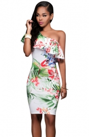 Sexy Ruffle One Shoulder Design Midi-Length  Floral Party Dress