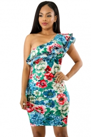Sexy Ruffle One Shoulder design Midi-Length Party Dress With Flroal Print Details