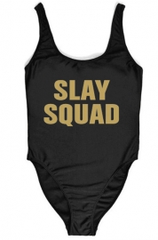 Fashion One Piece High Leg Letter Printed Swimwear SLAY SQUAD
