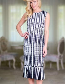 Triangle Print Striped Fishtail Dress