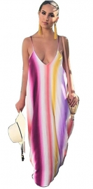 Colorful Stripe Spoon-neck Maxi Dress With Sling