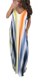 Sling And Spoon-neck Maxi Dress With Colorful Stripe