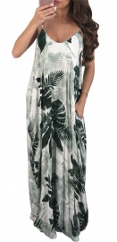 Green Leaves Printed Spoon-neck Maxi Dress With Sling