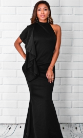 Halterneck And Backless Fishtail Maxi Dress With Ruffle Details At Shoulder Side