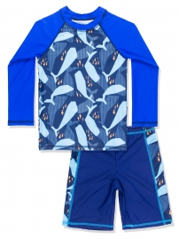 Boys Dolphin Printed Rash Guard Swimsuit Long Sleeves Swimwear