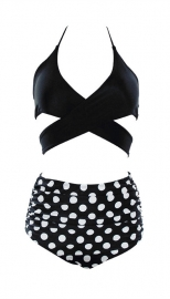 Cross Front Detailing Top And High Waist Bottom Two-pieces Swimwear