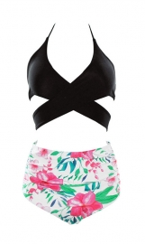 Cross Front Detailing And High Waist Floral Printed Two-pieces Swimwear