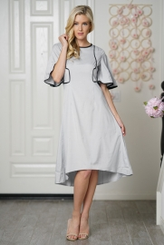 Women O-neck Midi Dress With Frill Sleeve