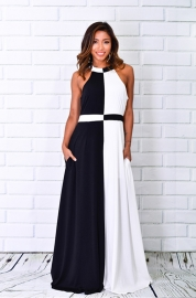 Halterneck Black And White Patchwork Maxi dress