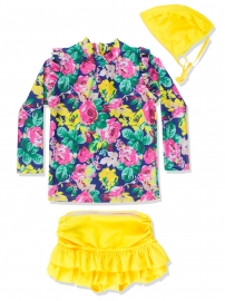 Toddlers Girls 3PCS Chic Swimsuit Long Sleeves Rash Guard Swimwear