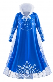 Elsa Costume Dress Girl Snowflake Winter Dress for Halloween Party