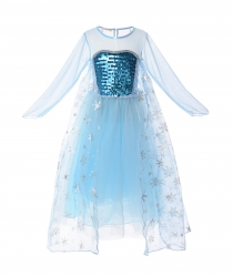 Little Girl Sequin Elsa Princess Costume Mesh Long Sleeve Dress up