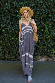 Grey Stripe Spoon-neck Maxi Dress With Sling