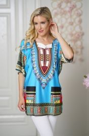 Loose Style And Half Sleeves Printed Dress