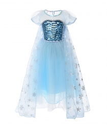 Princess Elsa Costumes Short Sleeve Birthday Dress up for Girls