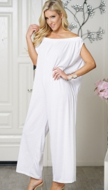Uhnice Women Cotton  off Shoulder Jumpsuit White