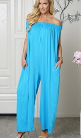 Uhnice Women Cotton  off Shoulder Jumpsuit  Blue