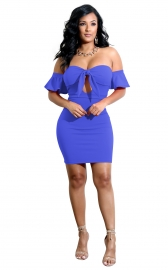 Ruffled Off-the-shoulder hollow out mature women sexy clubwear dress