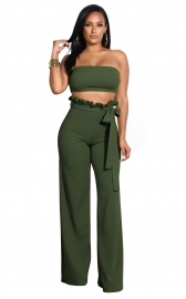 Top Wrapped Women Sexy Expose Navel Two Pieces Suit Army Green