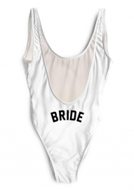 Sexy One Piece High Leg And Open Back Swimwear With Letter Printed BRIDE