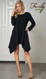 Women long sleeve irregulate hem with pocket cotton dress