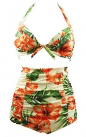 Halterneck And High Waist 2pcs Swimwear With Knot Decorated And Floral Print