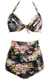 Halterneck And High Waist Floral Print 2pcs Swimwear With Knot Decorated