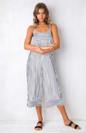 O-neck Shoulder Straps And Cropped Trouser Stripe Print Jumpsuit