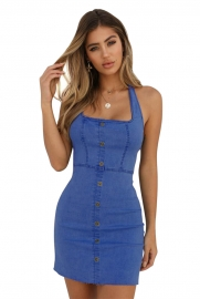 Halterneck Jean Mini Dress With button At Front