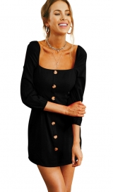 Women Long Sleeve Square Collar Slim Dress  with Button Black