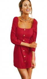 Women Long Sleeve Square Collar Slim Dress  with Button  Red
