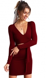 2018 sexy v-neck long sleeve hollow-out mini bodycon dress