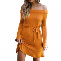 Women Sexy Slash Neck Off Shoulder Sweater Dress Yellow