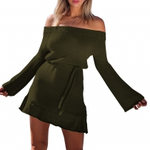 Women Sexy Slash Neck Off Shoulder Sweater Dress Army Green