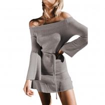 Women Sexy Slash Neck Off Shoulder Sweater Dress Grey